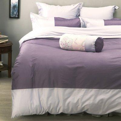 《60支紗》雙人床包/被套/枕套/4件式【紫色】波隆那100%精梳棉-麗塔寢飾-