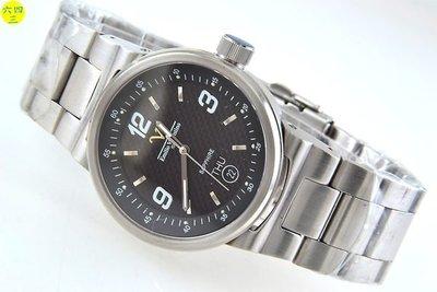 (六四三精品)范侖鐵諾(真品)TT5款式.藍寶石水晶鏡面.全不銹鋼.活動式錶耳.黑面精準錶!