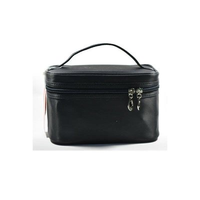 晴天小館 韓版黑色手提化妝包旅行收納包防水簡約多功能大容量洗漱包小方包QT686