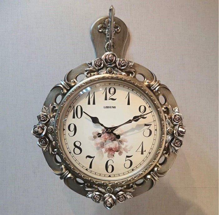 ~誠萍~歐美式 古典鄉村風 復古 風華麗立體 玫瑰雙面鐘 造型鐘 壁鐘 掛鐘 時鐘 靜音鐘~直購價$1699