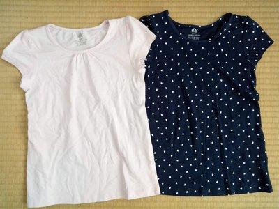 ╭♥︎喬喬屋♥︎╯[H&M]台北門市@童裝@小女童 有機棉 粉/深藍愛心短袖上衣 2入 6-8Y(122/128)