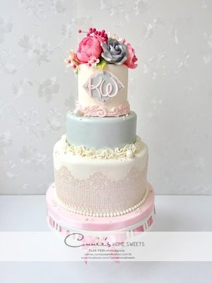 【Connie's Home Sweets】Wedding Cake 結婚蛋糕 糖花 Sugar flower Engagement Cake 訂婚蛋糕