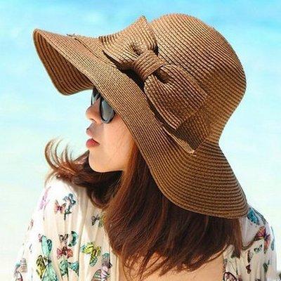 糖衣子輕鬆購【DZ0088】韓版可折疊雙層蝴蝶結草帽遮陽帽出遊沙灘帽防曬帽
