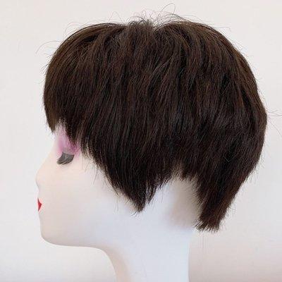整頂假髮真髮絲短假髮-蓬鬆直髮自然手織女假髮2色73vr18[獨家進口][米蘭精品]