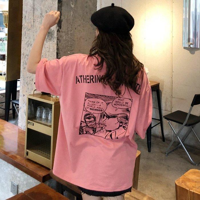 【夕溪閣】~棉質春季新款卡通字母圖案T恤女短袖寬松ins超火的上衣潮xxgz326514