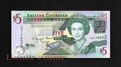 【Louis Coins】B106-EAST CARIBBEAN STATES-2008東加勒比海鈔票5 Dollars