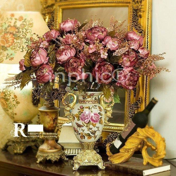 INPHIC-卡列尼婭陶瓷花器3束紫色夢幻皇家牡丹 仿真花
