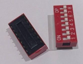 ►567◄指撥開關 撥碼開關 8位元 16腳 DIP平型 直插 2.54MM間距 紅色 編碼開關