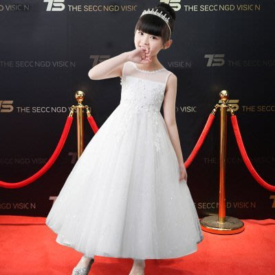 【衣Qbaby】兒童禮服女童花童婚紗音樂會演奏畢業典禮白色禮服