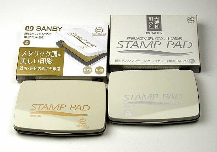 ☆╮Jessice 雜貨小鋪╭☆日本 進口 文具 SANBY金色 銀色 印台 單款式$350