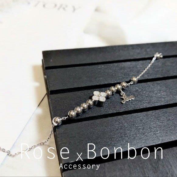 正生銀飾  S925純銀手鍊 幸運草 四葉草銀色 鑲鑽圓珠 好運手飾 手鐲 手環Rose Bonbon