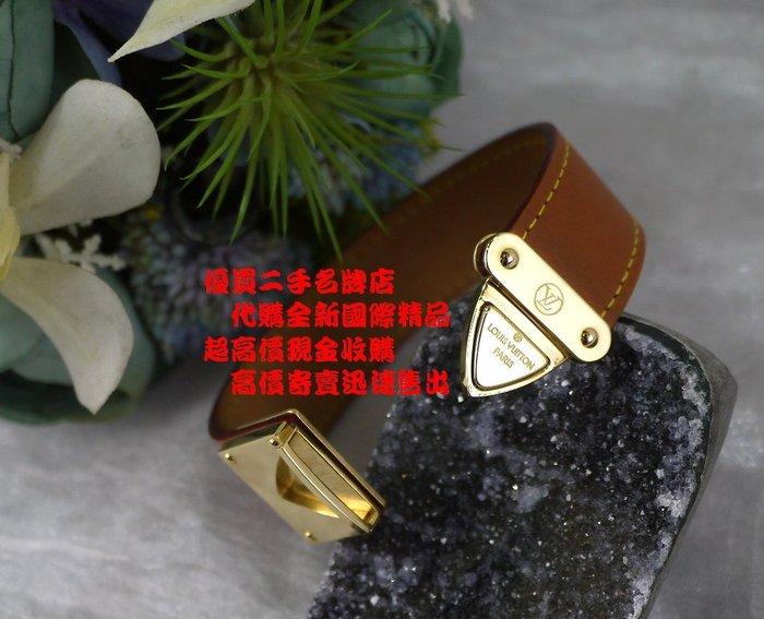 ☆優買二手精品名牌店☆ LV 絕版款 咖啡 皮革 金色 金屬 釦頭 手環 手鍊 手鐲 品相很新