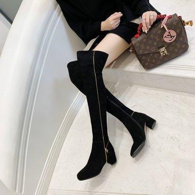 Fashion*超顯瘦真皮粗跟過膝長靴...