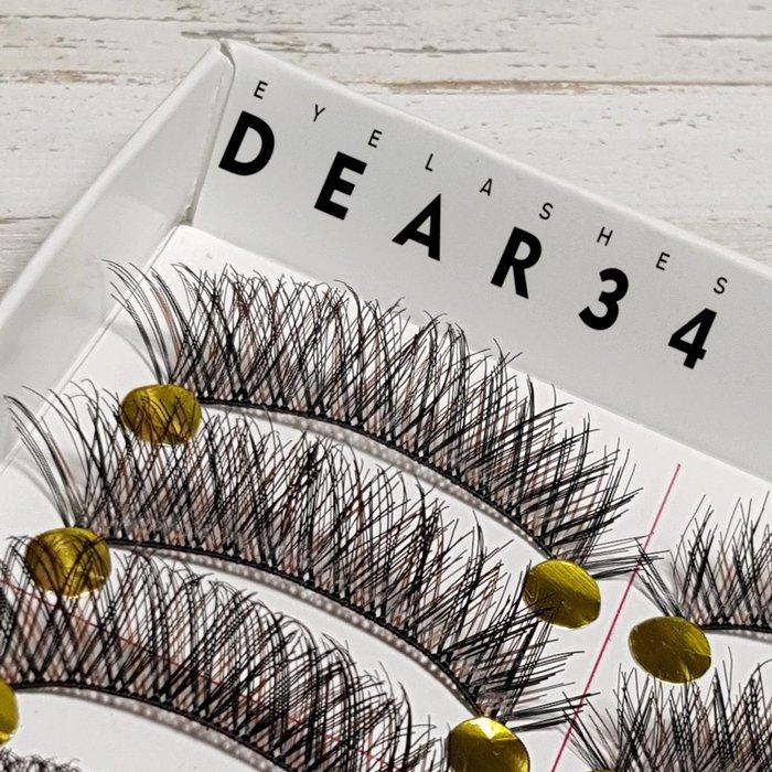 《Dear34》136黑棕相間濃密交叉眼尾加長 純手工編織假睫毛自然裸妝 一盒十對價