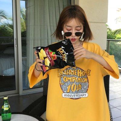 2018夏季韓版ulzzang原宿港味BF寬松做舊印花百搭短袖T恤女學生潮