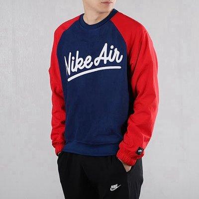 S.G Nike NSW AIR 草寫 復古 拼接 刷毛 保暖 休閒 長T 大學T 男款 藍紅 BV5188-492