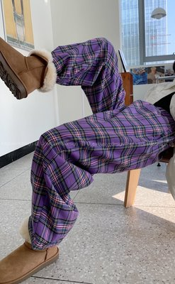 visa正韓專屬女裝U 冬季新款 正韓寬松顯瘦復古撞色格子加絨直筒闊腿褲女休閒長褲