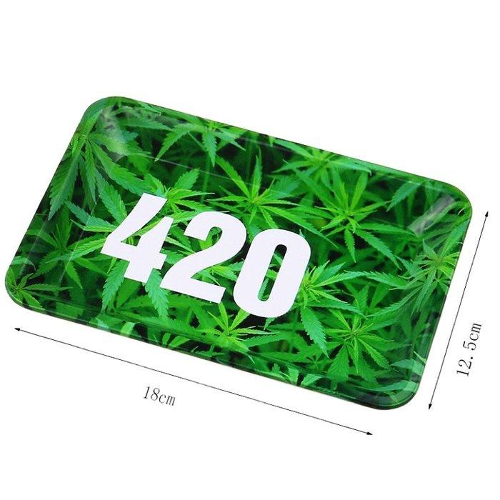 【MEGA】?免運 美國熱銷 180mm 麻葉圖案 420 捲煙 盤 便攜 捲菸 盤 煙具 Roller Tray