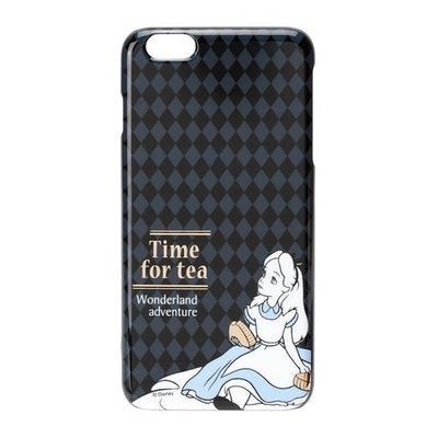 尼德斯Nydus~* 日本迪士尼 愛麗絲夢遊仙境 硬殼 手機殼 5.5吋 iPhone6+ 黑色格文 素面燙金款