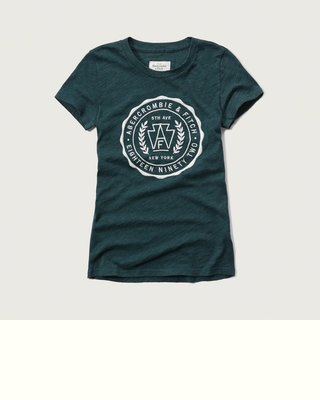 Maple麋鹿小舖 Abercrombie&Fitch * AF 女生綠色電繡徽章短T *( 現貨M號 )
