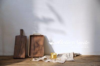 [ Atelier Smile ]  鄉村雜貨  日本直送 黑胡桃木手工製托盤 收納盒 展示盤 黃銅把手 (預購免運)