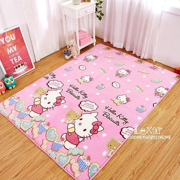 兒童KT貓爬行地毯法萊絨瑜伽墊hello kitty卡通臥室客廳大號地墊