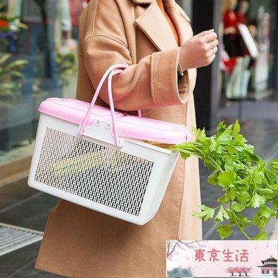 大號帶蓋手提塑料框籃野餐籃買菜籃子采摘籃購物籃果籃浴室收納筐【東京生活】