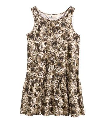 ╭*喬喬屋*╯美國[H&M]現貨在台@童裝@ 小女童貓咪印花洋裝 2-4y(98/104)