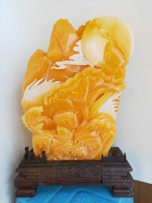 金凍石年年由余 精品魚擺件 鯉魚躍紅門 正宗印尼金田黃 壽山石