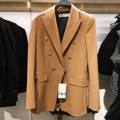 Liner 正韓女裝YT&UR 2021春季新款卡其色雙排扣寬松西裝外套女西服02186703704