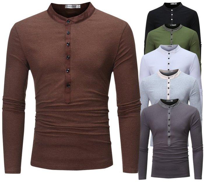 『潮范』  N4 韓版假兩件套開長筒休閑長袖T恤 素面T恤 撞色T恤 打底衫