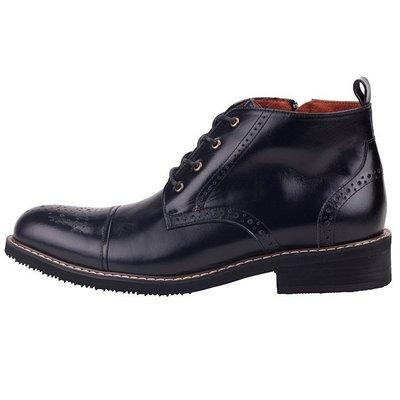 男款 歐美小牛皮牛津雕花 MIT手工皮靴 短靴 牛津鞋 黑色