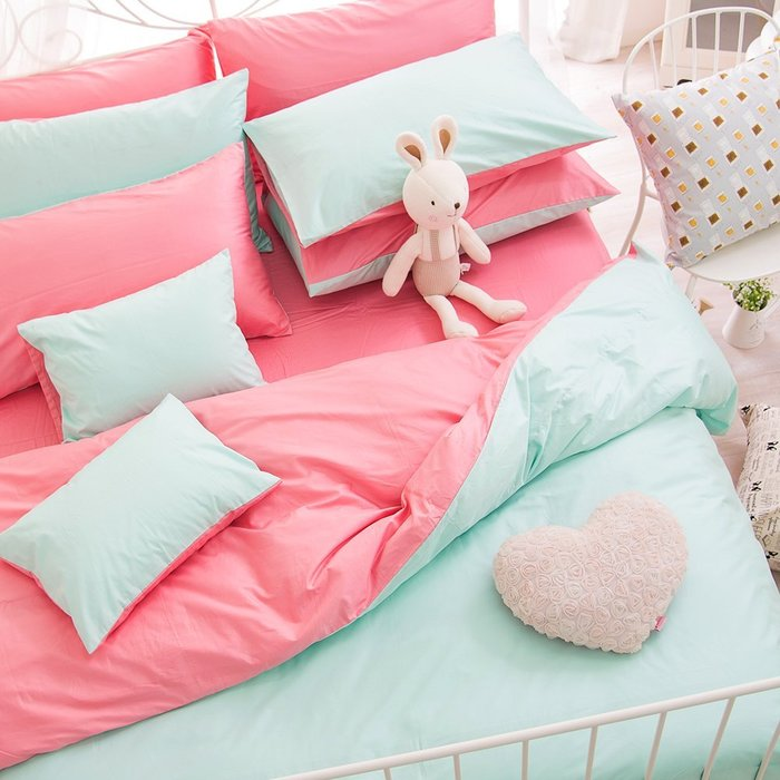 【OLIVIA 】BEST13 湖綠X桃粉 標準雙人床包枕套三件組(不含被套) 雙色系  素色雙色簡約