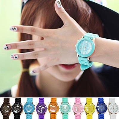 ☆雙兒網☆馬卡龍糖果色仿三眼玫瑰金邊手錶【AO2307】 QQ錶果凍錶男/女手錶另有韓國Mini
