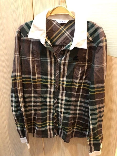 小花別針、專櫃品牌【 MA TSU MI】格紋長袖襯衫