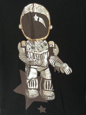 香港代購 機器人 100% 純棉 棉T 立體 裝飾 黑 長版 長身 香港 長t t恤