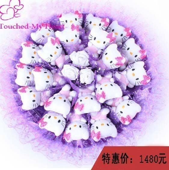 【優上精品】卡通花束 KITTY貓花束21只KT花束凱蒂貓公仔娃娃花束 小豬(Z-P3208)