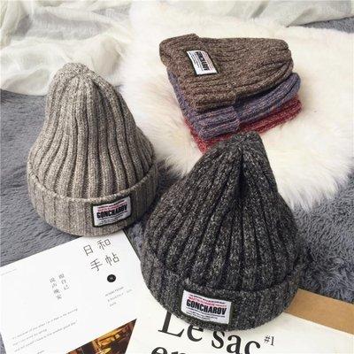 毛帽韓版貼標字母混色毛線帽保暖針織帽子男女秋冬休閒帽子套頭冷帽潮