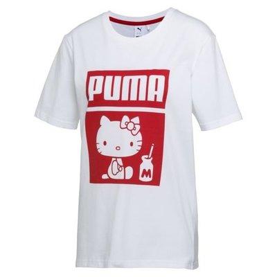 PUMA X HELLO KITTY T-SHIRT 576730-02 萌貓雙擊 紅白 短袖T恤 女款