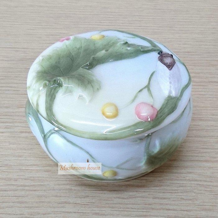 點點蘑菇屋 精緻歐洲高級瓷器亞諾弗系列-蟬與果實珠寶盒 置物盒 收納盒 首飾盒 藝術陶瓷精品 現貨