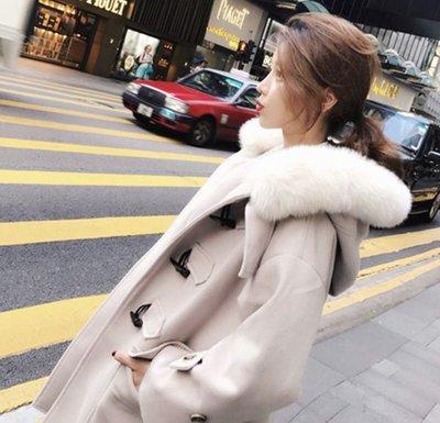 ✨日韓美著✨韓版牛角扣拼接毛帽暖暖大衣coat