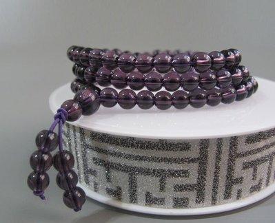 【波波小宅】特價出清 紫水晶配白水晶多圈手鏈項鏈108顆念珠6mm--703248 台中市