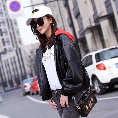 皮衣外套 機車夾克-連帽寬鬆短款修身女外套73on44[獨家進口][巴黎精品]