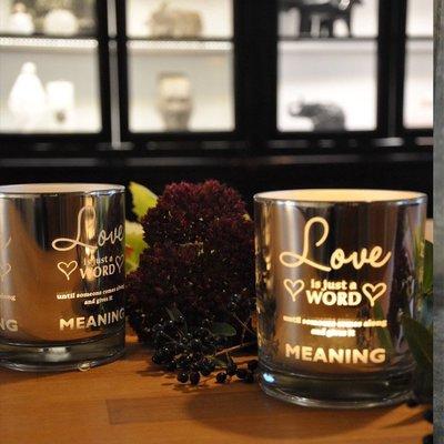 熱銷#簡約愛情格言銀色電鍍玻璃蠟燭臺浪漫情人節表白禮物酒吧裝飾擺設#燭臺#裝飾