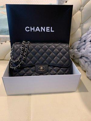 Chanel Jumbo黑色荔枝皮Coco包 30公分