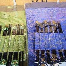 龍廬-出清特價~織錦餐墊同色6入+6雙筷子(藍色)個人餐具 餐廳裝飾 婚禮小物 筷子 快嫁祝福 餐桌佈置