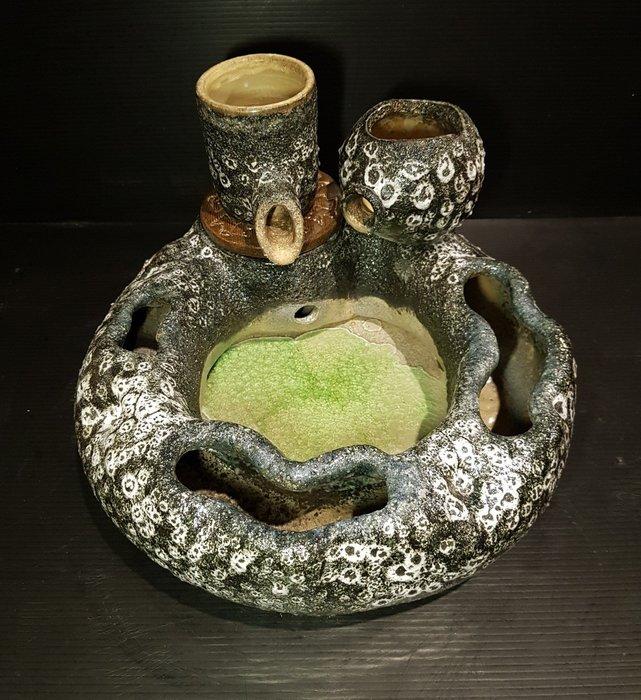 【星辰陶藝】(現貨) 雙層岩石釉色小流水,無滾球,雙層,馬達隱藏,開運流水,招財,風水擺件