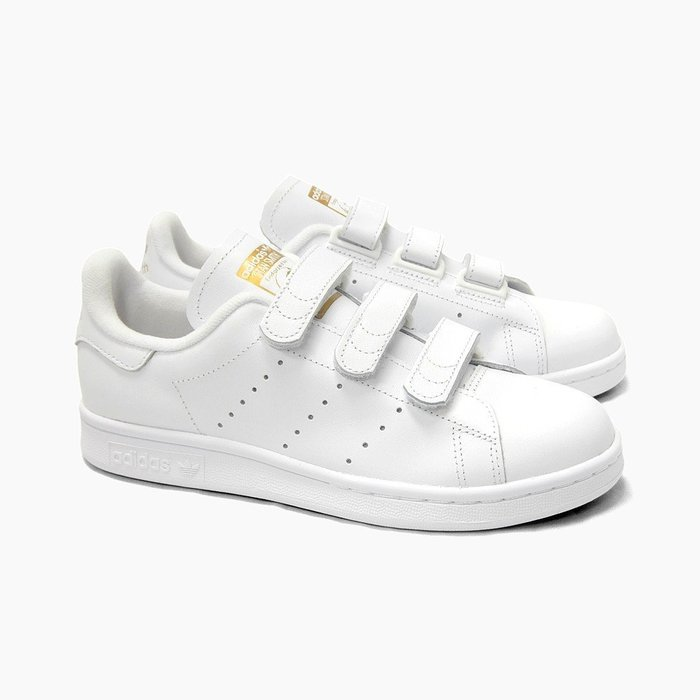 ADIDAS STAN SMITH CF OG 史密斯 金標 魔鬼氈 皮革滑板鞋 S75188 男女鞋 白金