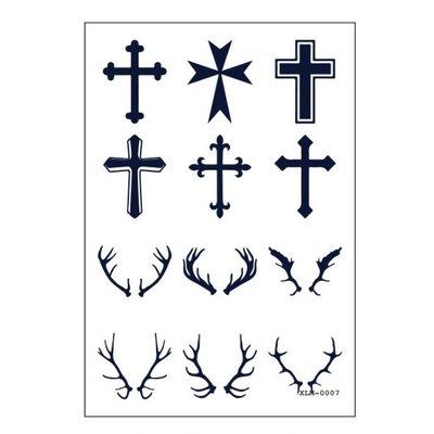 【萌古屋】羊角十字架符號 - 半永久果汁紋身微刺青14天擦不掉紋身刺青XLM-007 K61