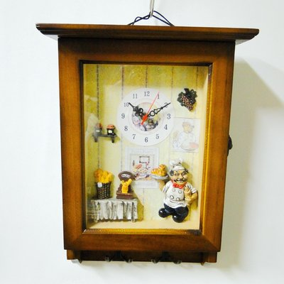 木製法式鄉村景緻裝飾壁掛鐘鎖匙衣服掛收納3用架DSC01638
